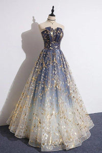 Charming Blue Floral Print Tulle Strapless Long A Line Prom Dresses Dance Dresses XHMPST15097