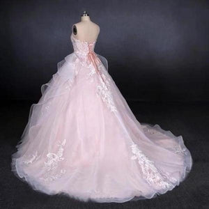 Ball Gown Strapless Sweetheart Wedding Dresses with Lace Applique Tulle Prom Dresses XHMPST15070