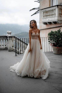 Rustic A Line Tulle Sweetheart Strapless Wedding Dresses Sleeveless Beach Bridal Dresses XHMPST15526