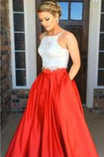 Load image into Gallery viewer, Two-piece Square Neck Red Real Made Prom Dress Sexy Prom Dress for Teens Party XHMPST14293