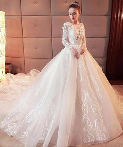 2020 Gorgeous Scoop Lace Appliques Flowers White Organza Long Sleeve Wedding Dresses XHMPST14579