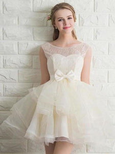 Scoop Neck Lace Tulle Bowknot Organza Lace up Short Prom Dress Homecoming XHMPST13457