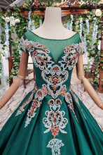 Load image into Gallery viewer, Simple Green Satin Short Sleeve Ball Gown Lace up with Applique Beads Prom XHMPST13903