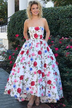 Load image into Gallery viewer, 2020 High Low Prom Dresses Strapless A-Line Floral Print Long XHMPSTCSSMQ