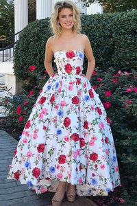 2020 High Low Prom Dresses Strapless A-Line Floral Print Long XHMPSTCSSMQ
