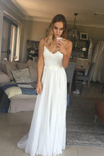 Load image into Gallery viewer, Elegant A Line Spaghetti Straps V Neck Top Lace Wedding Dresses Bridal XHMPST20461