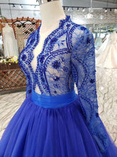 Load image into Gallery viewer, Elegant Blue Tulle Deep V Neck Long Sleeve Beads Ball Gown Prom Dresses with Lace up XHMPST14894