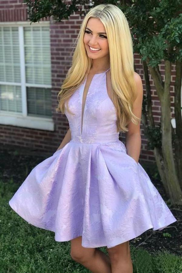 Simple Lilac Jacquard Floral Homecoming Dresses with Pocket Halter Graduation XHMPST13917