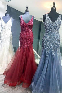 Elegant Mermaid V Neck Straps Tulle Long Prom Dresses Cheap Evening Dresses XHMPST14975