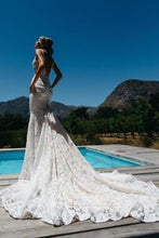 Load image into Gallery viewer, V-Neck Ruched Backless Lace Pockets Mermaid White Wedding Dress With Court XHMPST14434