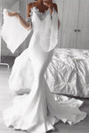 White Chiffon Long Prom Dresses Mermaid Cold Shoulder Flare Sleeves Party XHMPST14485