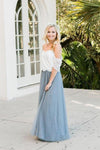 Two Piece Floor Length Prom Dress with Lace 2 Piece Off Shoulder Tulle Bridesmaid Dress XHMPST14774