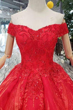 Load image into Gallery viewer, Red Off The Shoulder Lace Appliques Beads with Lace up Prom Dress Quinceanera XHMPST13373