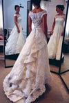 Vintage Lace Ivory Off the Shoulder Layers Skirt A-line Bridal Gowns Wedding XHMPST14460