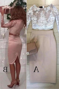 Two Pieces Long Sleeve Lace Knee Length Homecoming Dresses Sheath Short Prom XHMPST14279
