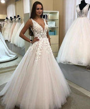 Load image into Gallery viewer, A Line V-neck Long Tulle Wedding Dress with Appliques Cheap Bridal Dresses XHMPST15045