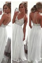 Load image into Gallery viewer, White Chiffon Sequin Long Prom Dress For Teens Backless Long Prom Dresses Wedding XHMPST14486
