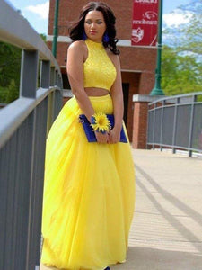 Yellow tulle two pieces O-neck A-line long prom dress XHMPST14553
