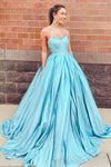 Elegant Blue Sweetheart Straps Satin Long Prom Dresses Ball Gown Evening Dress XHMPST15162