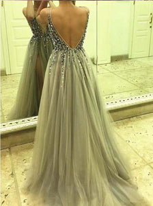 Elegant A Line Tulle Beads Deep V Neck Prom Dresses High Slit Ivory Evening Dresses XHMPST14890