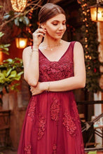 Load image into Gallery viewer, Elegant V Neck Burgundy Beads Appliques Lace Evening Dresses Long Prom Dresses XHMPST15211