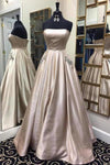 Sweetheart strapless light grey simple long A-line prom dress for teens XHMPST14197