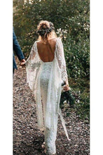 Load image into Gallery viewer, Rustic Batwing Sleeve Lace Ivory Wedding Dresses Ivory Sheath Boho Wedding XHMPST13443