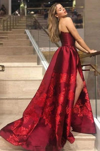 Unique A Line Strapless Burgundy Satin Prom Dresses with Appliques Formal Dresses XHMPST15454