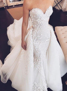Sweetheart Mermaid Strapless Lace Appliques Wedding Dress with Detachable XHMPST14186