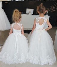 Load image into Gallery viewer, Princess Ivory Flower Girl Dresses with Lace Appliques Cute Little Girl Dress XHMPST15590