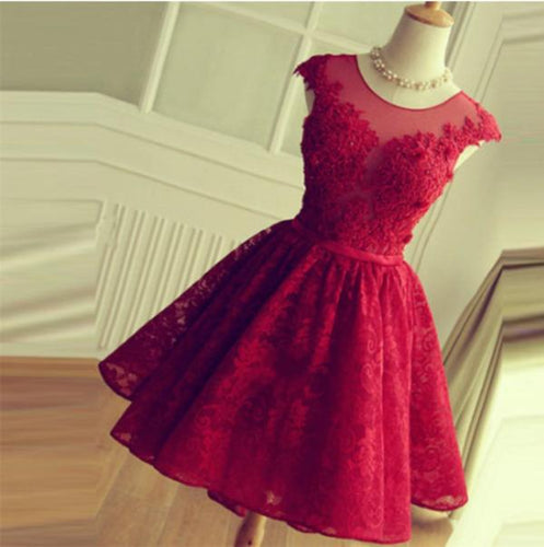 Red Lace Short Modest Appliques Sleeveless Open Back Pretty Homecoming XHMPST13359