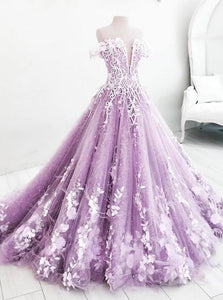 Ball Gown Off the Shoulder V Neck Tulle Lavender Beads Prom Dresses Quinceanera Dresses XHMPST15562