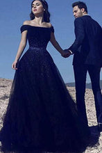 Load image into Gallery viewer, A Line Off the Shoulder Tulle Dark Blue Beads Prom Dresses Long Cheap Evening Dress XHMPST14820