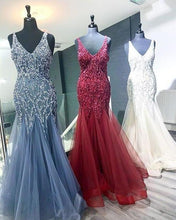 Load image into Gallery viewer, Elegant Mermaid V Neck Straps Tulle Long Prom Dresses Cheap Evening Dresses XHMPST14975