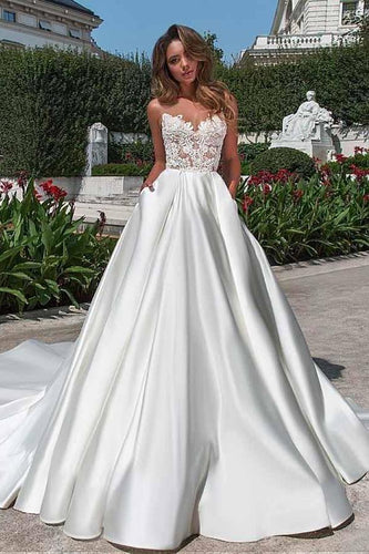 Satin Neckline A-line Open Back Lace Wedding Dress With Pockets Lace XHMPST13449