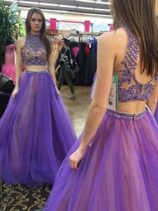 Stylish Two Piece High Neck Floor-Length Prom Dress with Beading Open XHMPST14154