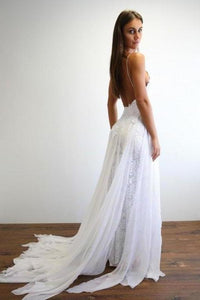 Spaghetti Straps Sweetheart White Lace Wedding Dresses with Chiffon Beach Bridal Dress XHMPST15420