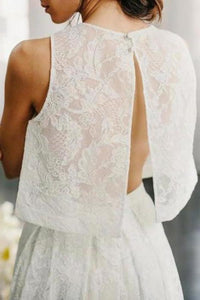 Two Piece Crew Sleeveless Sweep Train Open Back Ivory Lace Cheap Wedding XHMPST14229