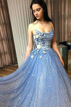 Load image into Gallery viewer, A-line Blue Spaghetti Straps Sweetheart Long Prom Dresses Evening Dresses XHMPST15048
