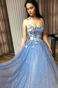 A-line Blue Spaghetti Straps Sweetheart Long Prom Dresses Evening Dresses XHMPST15048