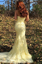 Load image into Gallery viewer, Yellow Mermaid Strapless Lace Appliques Prom Dresses with Slit Evening XHMPST20475