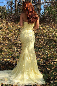 Yellow Mermaid Strapless Lace Appliques Prom Dresses with Slit Evening XHMPST20475