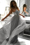 Flowy A Line Spaghetti Straps Grey Tulle Long Prom Dresses Cheap Dance Dresses XHMPST15228