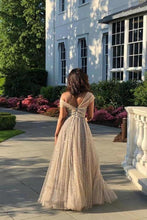 Load image into Gallery viewer, Sparkly A Line Off the Shoulder Prom Dresses with V Back Long Dance Dresses XHMPST15600