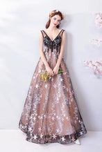 Load image into Gallery viewer, Princess A Line V Neck Applique Prom Dresses with Stars Lace up Evening Dresses XHMPST15286