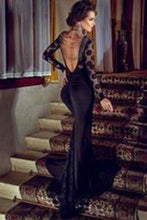 Load image into Gallery viewer, Trendy Series Long Lace Black Cocktail Evening Party XHMPST14207