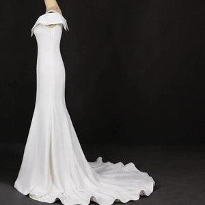Mermaid V Neck Ivory Simple Wedding Dress Satin Unique Long Wedding Gowns XHMPST15268