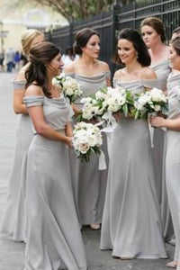 A Line Off the Shoulder Grey Chiffon Cheap Long Prom Dresses Bridesmaid XHMPST10394