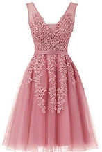 Load image into Gallery viewer, Short Dusty Rose Homecoming Dresses Lace Beads Tulle Appliqued Princess Hoco XHMPST13799