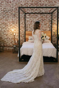 Rustic Sheath Long Sleeves Wedding Dress With Lace Beading Vintage Beach Bridal XHMPST13444